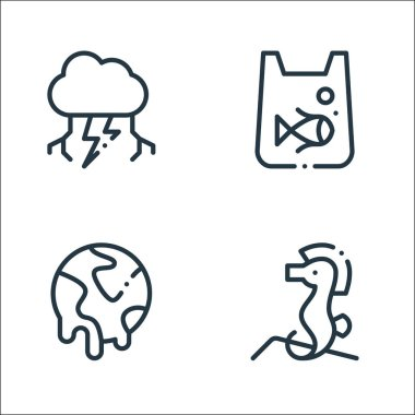 Climate change line icons. linear set. quality vector line set such as sea horse, global warming, pollution icon