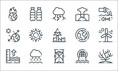 Climate change line icons. linear set. quality vector line set such as coral, hourglass, tide, urban, rain, solar, ozone layer, eruption, plastic icon