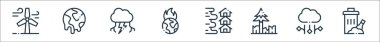 Climate change line icons. linear set. quality vector line set such as trash, hail, deforestation, flood, global warming, thunderstorm, global warming icon
