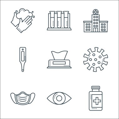 Covid line icons. linear set. quality vector line set such as pill jar, eye, mask, coronavirus, wet wipes, thermometer, hospital, icon