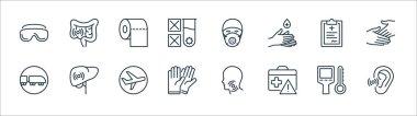 Stop virus line icons. linear set. quality vector line set such as hear, suitcase, rubber gloves, railway, prescription, toilet paper, mask, stomach icon