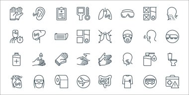 Stop virus line icons. linear set. quality vector line set such as suitcase, robe, airplane, cardio, sanitizer, rubber gloves, railway, lungs, liver icon