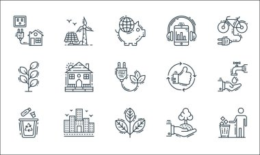 Environment and eco line icons. linear set. quality vector line set such as trash bin, plant, recycle, ecology, building, plant, thumbs up, listening, wind energy icon