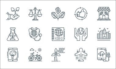 Environment and eco line icons. linear set. quality vector line set such as cloud computing, wind energy, wallpaper, aeroplane, bicycle, herbalism, ecology, thumbs up, balance scale icon