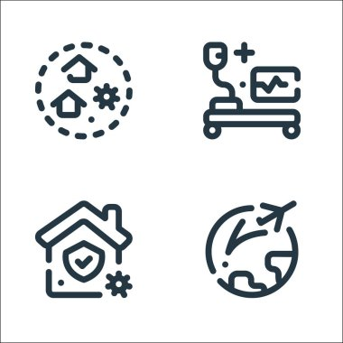 Virus infection line icons. linear set. quality vector line set such as pandemic, stay at home, medical room icon