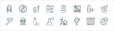 Beauty cosmetics line icons. linear set. quality vector line set such as save the world, mirror, medical, comb, toner, skincare, cruelty free, no alcohol icon