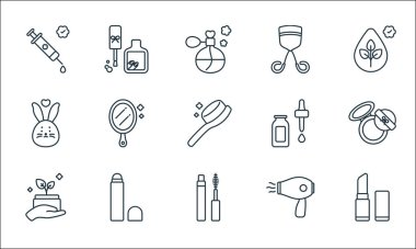 Beauty cosmetics line icons. linear set. quality vector line set such as lipstick, mascara, organic product, hair dryer, concealer, cruelty free, skincare, eyelash curler, nail polish icon
