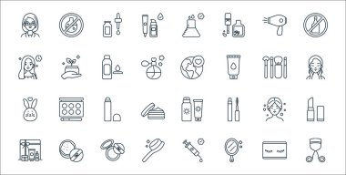 Beauty cosmetics line icons. linear set. quality vector line set such as eyelash curler, mirror, comb, cosmetics, beauty treatment, concealer, skincare, save the world, organic product icon