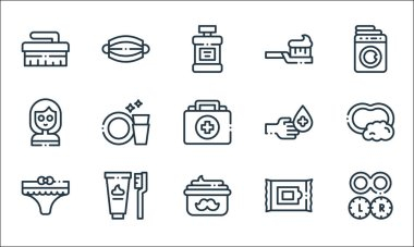 Hygiene routine line icons. linear set. quality vector line set such as contact lens, moustache cream, underwear, wipes, tooth hygiene, face mask, hand sanitizer, toothbrush, medical mask icon