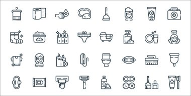 Hygiene routine line icons. linear set. quality vector line set such as tooth hygiene, contact lens, shaving razor, sanitary pad, cleaning brush, candles, hygiene, bathtub, moustache cream icon
