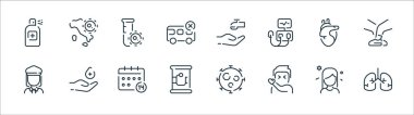 Coronavirus line icons. linear set. quality vector line set such as lungs, sneezing, canned food, woman, heart, test tube, hand washing, map icon