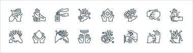 Wash hand line icons. linear set. quality vector line set such as handwash, sanitizer, hand dryer, washing hands, washing hands, hand sanitizer, washing hands, wrist icon