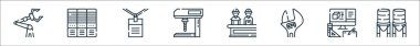 Industrial process line icons. linear set. quality vector line set such as water tank, product de, wrench, manufacture, drilling machine, work, servers icon