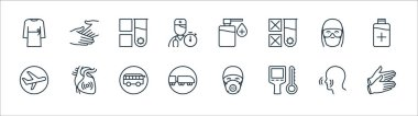 Stop virus line icons. linear set. quality vector line set such as rubber gloves, thermal, railway, airplane, face protection, test tube, sanitizer, hands icon