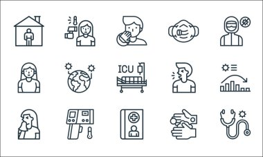 Flat covid virus pandemic line icons. linear set. quality vector line set such as stethoscope, medical record, sneeze, hand washing, thermometer, woman, cough, respirator, fever icon