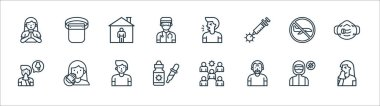 Flat covid virus pandemic line icons. linear set. quality vector line set such as sneeze, elder, dropper, snot, flight, stay at home, cough, protective gear icon