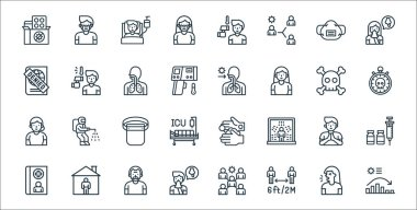 Flat covid virus pandemic line icons. linear set. quality vector line set such as chart, distance, snot, medical record, greeting, protective gear, stopwatch, fever icon