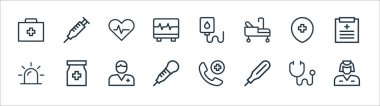Medical items line icons. linear set. quality vector line set such as nurse, thermometer, pipette, emergency, hospital, heart, infusion, injection icon