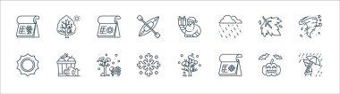 Flat season line icons. linear set. quality vector line set such as rainy day, winter, snowflake, sun, maple leaf, summer, santa claus, tree icon