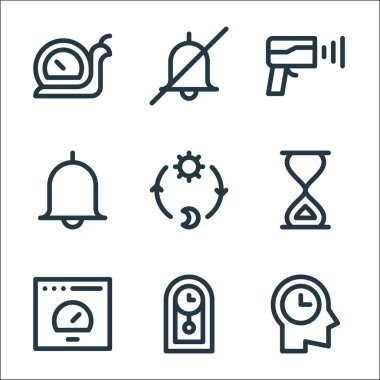 Speedometer and time line icons. linear set. quality vector line set such as time management, clock, speedometer, sand clock, day and night, alarm, speed radar, no alarm icon