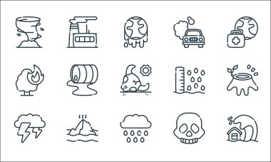 Climate change line icons. linear set. quality vector line set such as tsunami, rain, thunderstorm, skull, melting, burning tree, sea level, co, factory icon