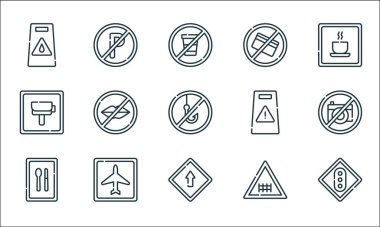 Signals and prohibitions line icons. linear set. quality vector line set such as traffic light, ahead only, rest area, railway, airport, radar, attention, no cit card, no parking icon