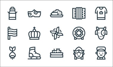 Holland line icons. linear set. quality vector line set such as boy, boat, bulb, girl, ice skating shoes, holland, ceramics, accordion, clogs icon