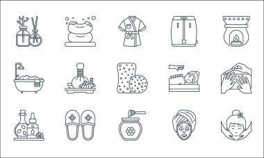Spa line icons. linear set. quality vector line set such as face massage, honey jar, essential oil, slipper, bathtub, acupuncture, sauna, soap icon