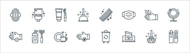 Hygiene routine line icons. linear set. quality vector line set such as manicure, tissue box, bacteria, hand wash, handwash, tooth hygiene, comb, toilet icon