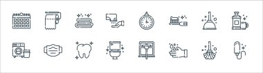 Hygiene routine line icons. linear set. quality vector line set such as tampon, handwash, toilet, washing machine, plunger, towel, clock, toilet paper icon