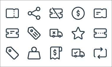 Marketplace line icons. linear set. quality vector line set such as transfer, receipt, tag, delivery, weight, ticket, star, coin, share icon