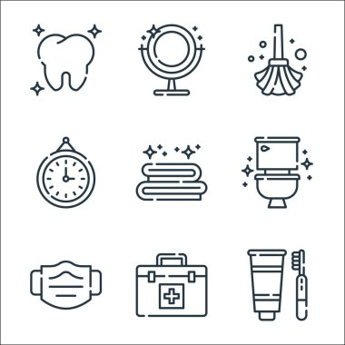 Hygiene routine line icons. linear set. quality vector line set such as tooth hygiene, first aid kit, medical mask, toilet, towel, clock, mop, mirror icon