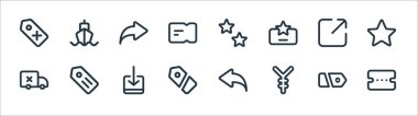 Marketplace line icons. linear set. quality vector line set such as voucher, yuan, label, delivery, share, share, favorite, ship icon