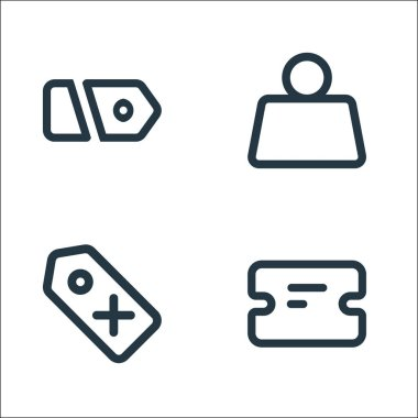 Marketplace line icons. linear set. quality vector line set such as ticket, price, weight icon