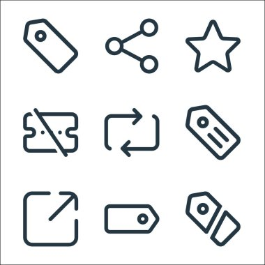 Marketplace line icons. linear set. quality vector line set such as label, tag, share, label, transfer, voucher, star, share icon