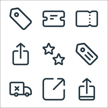 Marketplace line icons. linear set. quality vector line set such as upload, share, delivery, label, favorite, send, ticket, ticket icon