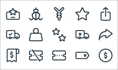 Marketplace line icons. linear set. quality vector line set such as coin, voucher, receipt, tag, voucher, delivery, delivery, star, ship icon