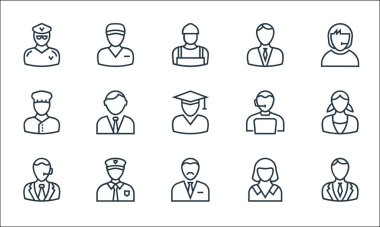 Professions line icons. linear set. quality vector line set such as lawyer, accountant, maid, taxi driver, baker, manager, icon