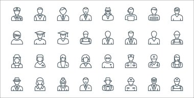 Professions line icons. linear set. quality vector line set such as miner, firefighter, accountant, spy man, doctor, nurse, laborer, teacher, scholar icon