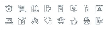 Shopping ecommerce line icons. linear set. quality vector line set such as online payment, thumbs up, telephone, laptop, price tag, gift, shopping online, wish list icon