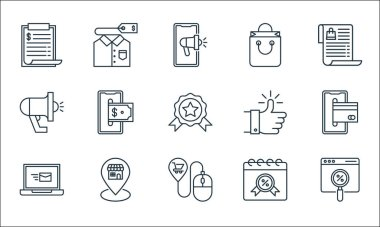 Shopping ecommerce line icons. linear set. quality vector line set such as web, mouse, laptop, calendar, pin, megaphone, thumbs up, shopping bag, t shirt icon