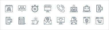 Shopping ecommerce line icons. linear set. quality vector line set such as ecommerce, shopping basket, envelope, smartphone, ecommerce, discount, telephone, rating icon