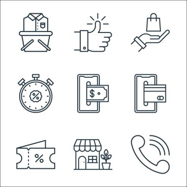 Shopping ecommerce line icons. linear set. quality vector line set such as telephone, store, voucher, smartphone, invoice, discount, hand, thumbs up icon