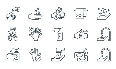 Wash hands line icons. linear set. quality vector line set such as faucet, hand dryer, hand sanitizer, soaps, hand, sanitizer, washing hands, towels, washing icon