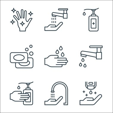 Wash hands line icons. linear set. quality vector line set such as hand sanitizer, faucet, hand sanitizer, water tap, hand washing, soaps, sanitizer, washing icon