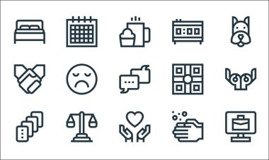 Mental health line icons. linear set. quality vector line set such as telecommuting, love, cards, hand wash, balance, holding hands, board game, alarm clock, calendar icon