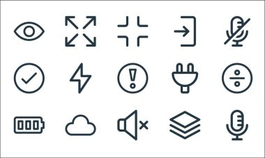 User interface line icons. linear set. quality vector line set such as microphone, silent, battery full, layer, cloud, check mark, plug, login, maximize icon