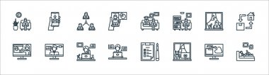 Home icon pack line icons. linear set. quality vector line set such as working, work space, online chat, presentation, working, teamwork, working, send mail icon