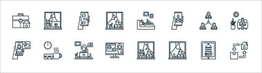 Home icon pack line icons. linear set. quality vector line set such as home delivery, working, presentation, video calling, teamwork, online chat, working, work space icon