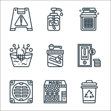 Laundry line icons. linear set. quality vector line set such as trash bin, laundry service, bathroom, washing machine, laundry detergent, washing hands, liquid soap icon